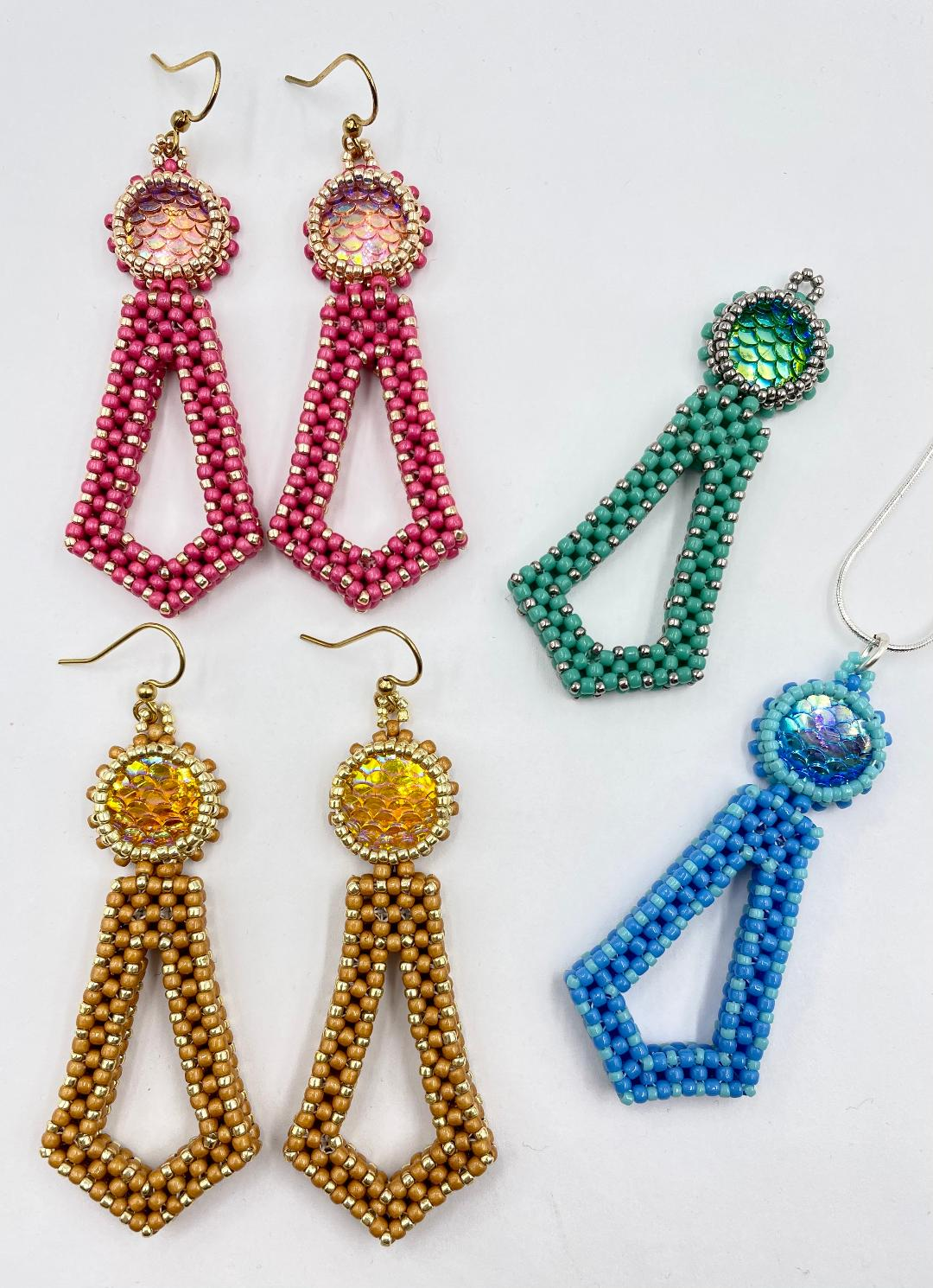Four Color Choices for the Mermaid Tail Earrings